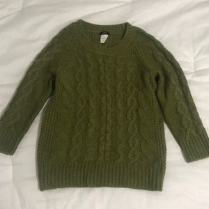 Hunter Green Chunky Cable Knit J.Crew Sweater
